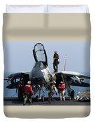 An F-14d Tomcat On The Flight Deck Duvet Cover by Gert Kromhout