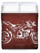 2011 Speed Triple Triumph Motorcycle Blueprint Red Background Artwork Christmas Gift For Men Duvet Cover