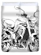 2011 Triumph Street Triple, Black And White Motorcycle Duvet Cover