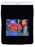 2016 Monona Farmer's Market Blue Bucket Of Dahlias Duvet Cover
