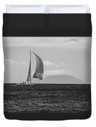 2017 Heineken Regatta Sailing Past Saba Saint Martin Sint Maarten Red Sail Black And White Duvet Cover
