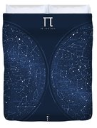 2017 Pi Day Star Chart Azimuthal Projection Duvet Cover