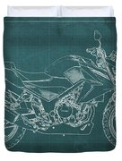 2018 Honda Cb300f Abs Blueprint Green Background Duvet Cover