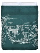 2018 Triumph Thruxton 1200 Blueprint Green Background Duvet Cover