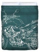 2018 Yamaha Mt07 Blueprint Green Background Fathers Day Gift Duvet Cover