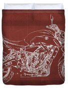 2018 Yamaha Mt07 Blueprint  Red Background Fathers Day Gift Duvet Cover