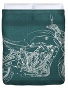 2018 Yamaha Mt07,blueprint,green Background,fathers Day Gift,2018 Duvet Cover