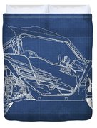 2018 Yamaha Wolverine X4 Blueprint Blue Background Gift For Dad Duvet Cover