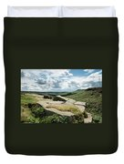 Beautiful Vibrant Landscape Image Of Burbage Edge And Rocks In S Duvet Cover