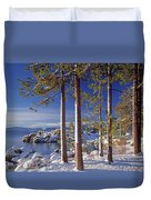 211257 Snow On Tree Sides Lake Tahoe Duvet Cover