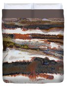 22. V2 Rustic Brown, Red And White Glaze Painting Duvet Cover