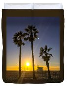 Sunset In Santa Monica, California, Usa Duvet Cover