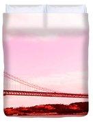 25 De Abril Bridge In Crimson Duvet Cover