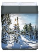 Amazing Landscape With Frozen Snow-covered Trees In Winter Morning  Duvet Cover