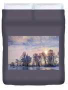 Frozen Water, Snow And Ice On The Dnieper River Duvet Cover