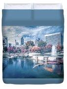 Charlotte North Carolina Cityscape During Autumn Season Duvet Cover
