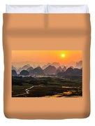 Karst Mountains Scenery In Sunset Duvet Cover