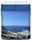 28 September 2016 White Houses By The Sea In Santorini, Greece  Duvet Cover