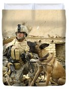 A Dog Handler And His Military Working Duvet Cover