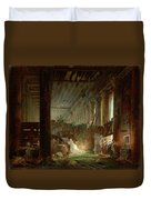 A Hermit Praying In The Ruins Of A Roman Temple Duvet Cover