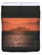 Alcatraz Island Prison San Francisco Bay At Sunset Duvet Cover