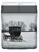 Amish Buggy Near Shipshe Duvet Cover