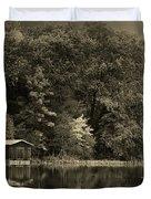 Autumn Lake Boathouse Duvet Cover