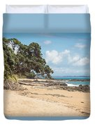 Beach In New Zealand Duvet Cover