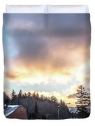 Beautiful Sunrise Over Horizon On Snowshoe Mountain West Virgini Duvet Cover