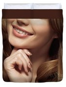 Beautiful Young Smiling Woman Duvet Cover by Oleksiy Maksymenko
