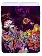 Butterfly Macro Pose Plant Green  Duvet Cover