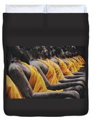 Carved Stone Buddha Statue Wat Temple Complex In Old Siam Kingdom Ayutthaya Thailand Duvet Cover