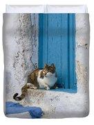 Cat In A Doorway, Greece Duvet Cover