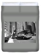Chicago Bus And Buildings Duvet Cover