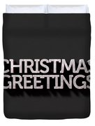 Christmas Greetings Text On Black Duvet Cover