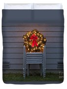 Christmas Wreath On Lawn Chairs Duvet Cover