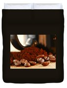 Coffee Beans And Ground Coffee Duvet Cover