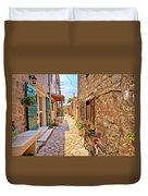 Colorful Mediterranean Stone Street Of Prvic Island Duvet Cover