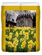 Daffodils And Bar Walls, York, Uk. Duvet Cover