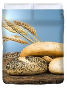 Different Breads And Windmill In The Background Duvet Cover by Deyan Georgiev