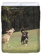 Dog Playing Duvet Cover