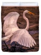 Egret With Fish Duvet Cover