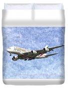 Emirates A380 Airbus Watercolour Duvet Cover