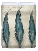 3 Feathers And Quote Duvet Cover