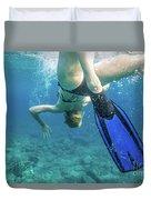 Female Snorkeling Duvet Cover