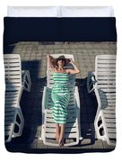 Girl Lies On A Chaise Longue In A Green Striped Dress Duvet Cover