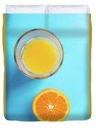Glass Of Orange Juice And Half Of Orange Duvet Cover