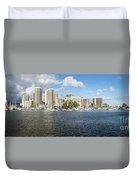 Honolulu Skyline Panorama Duvet Cover