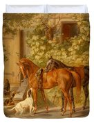 Horses At The Porch Duvet Cover