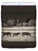 Horses Of The Fall  Bw Duvet Cover